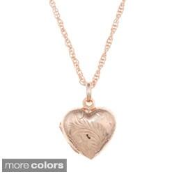 Sterling Essentials Engraved Heart Locket Necklace