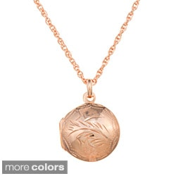 Sterling Essentials Small Engraved Round Locket Necklace
