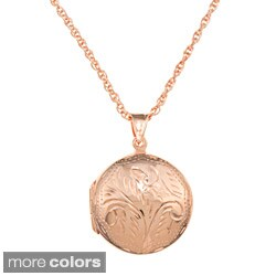 Sterling Essentials Large Engraved Round Locket Necklace