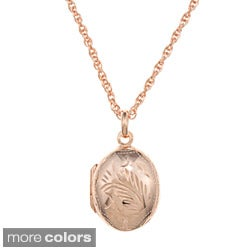Sterling Essentials Engraved Oval Locket Necklace