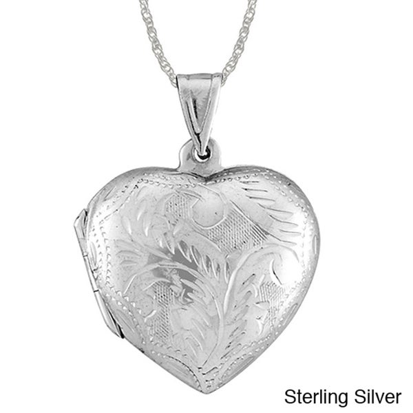 Sterling Essentials Silver Large Engraved Heart Locket 18-inch Necklace