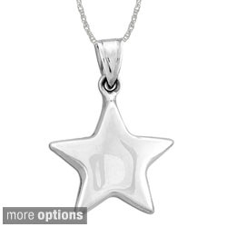 Sterling Essentials Silver Small Puff Star Charm 18-inch Necklace