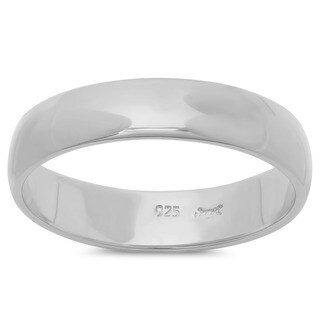 Sterling Essentials Sterling Silver Domed Wedding Band (4 mm)