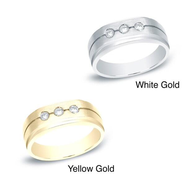 Auriya 14k White or Yellow Gold Men's 1/4ct TDW Round Diamond Ring