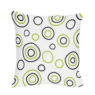 Sweet JoJo Designs Spirodot Lime and Black Throw Pillow