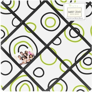 Sweet JoJo Designs Spirodot Lime and Black Fabric Bulletin Board