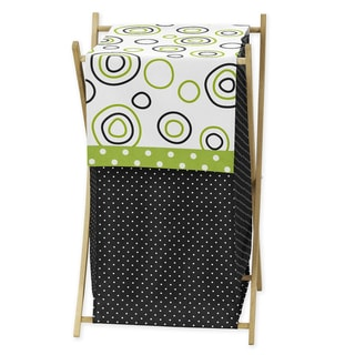 Sweet JoJo Designs Spirodot Lime and Black Clothes Laundry Hamper