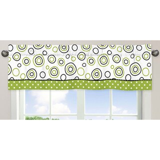 Sweet Jojo Designs Black, White, Lime 54-inch x 15-inch Window Treatment Curtain Valance for Lime Green and
