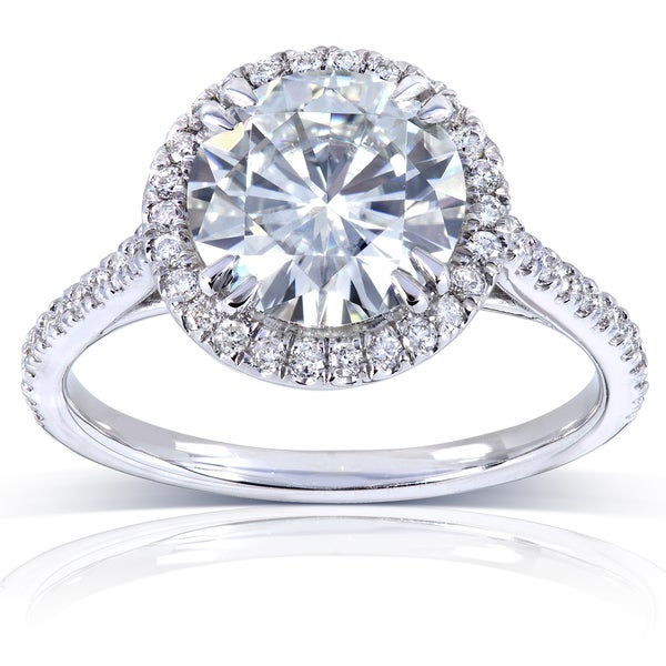 Annello by Kobelli 14k White Gold 2 1/6ct TGW Moissanite (HI) and Diamond Round Halo Engagement Ring