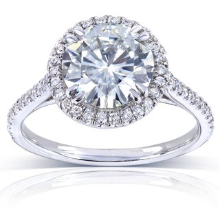 Annello by Kobelli 14k White Gold 2 1/6ct TGW Moissanite and Diamond Round Halo Engagement Ring