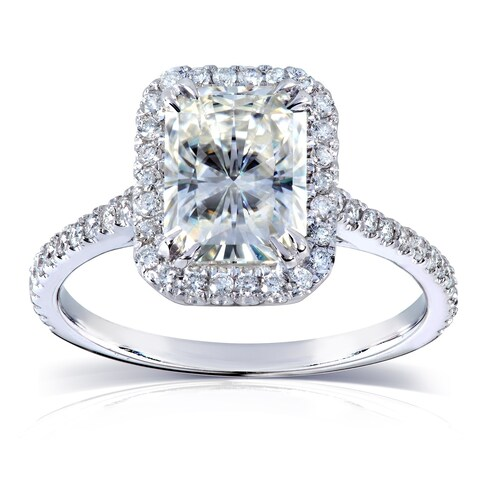 Annello by Kobelli 14k White Gold 2ct TGW Radiant-cut Moissanite and Diamond Halo Engagement Ring