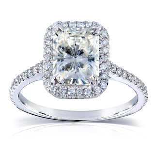 Annello by Kobelli 14k White Gold 2ct TGW Radiant-cut Moissanite (HI) and Diamond Halo Engagement Ring