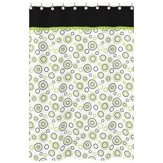 Sweet Jojo Designs Spirodot Lime and Black Cotton Shower Curtain