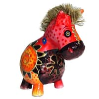 "Handmade 6"" Multicolor Sitting Zebra Figurine (Indonesia)"