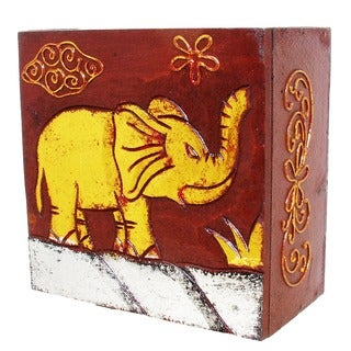 "Handmade 6"" Brown and Goldtone Elephant Box (Indonesia)"