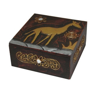 Handmade Brown/ Goldtone Giraffe 6-inch Wooden Box