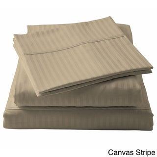 Brielle 100-percent Egyptian Cotton Sateen 630 Thread Count Sheet Set (Pillowcase (set of 2) - Standard Canvas Stripe)