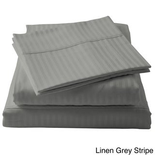Brielle 100-percent Egyptian Cotton Sateen 630 Thread Count Sheet Set (Linen Grey - Full)