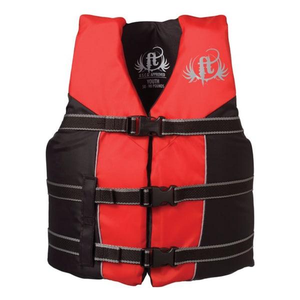 Full Throttle Youth Nylon Water Sports Red/ Black Life Vest