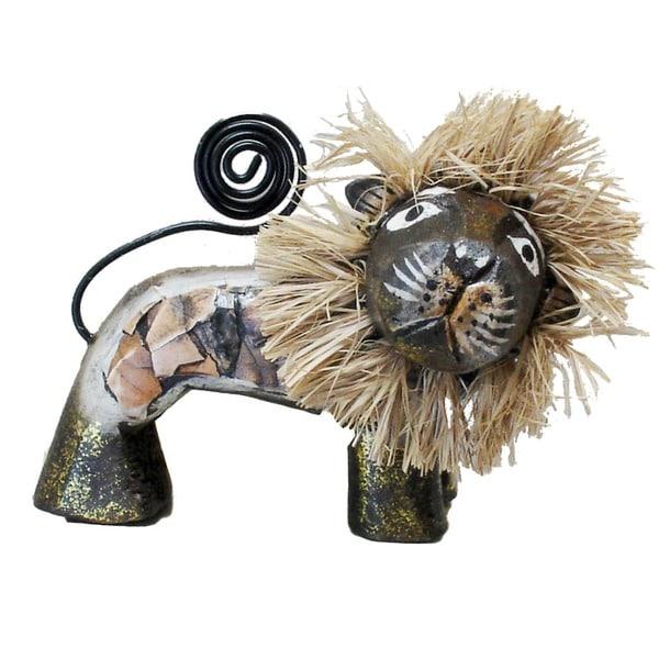 "Handmade 4"" Brown Lion Figurine (Indonesia)"