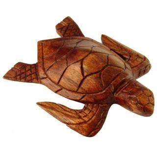 """Handmade 8"""" Natural Wood Turtle Figurine (Indonesia)"""