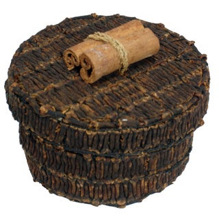 Handmade 3-inch Round Clove Box (Indonesia)