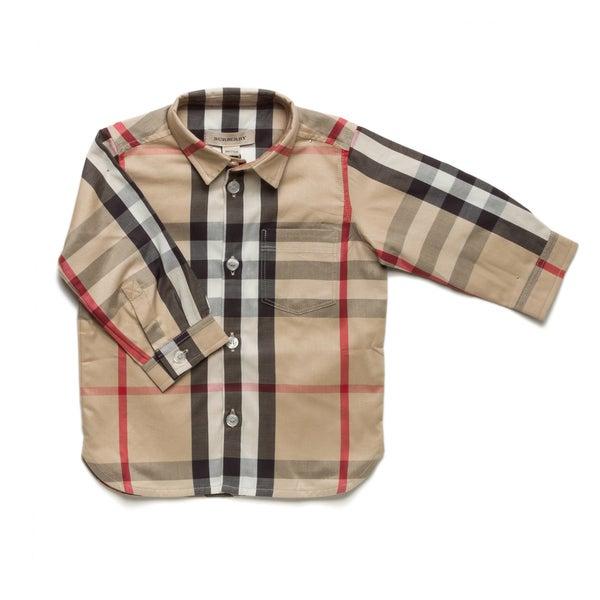 Burberry Boys' Check Long Sleeve Oxford Shirt
