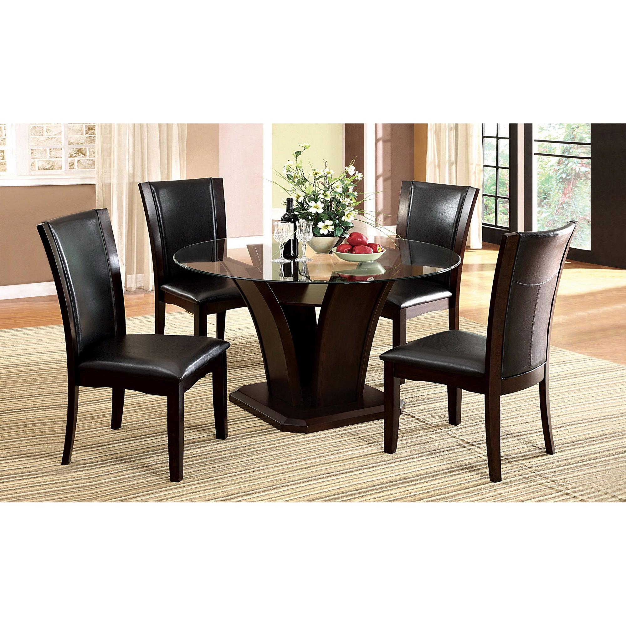 Furniture of America Gale 5-piece Two-tone Glass and Cherrywood ...