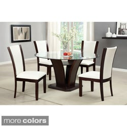 Furniture Of America Gale 5 Piece Two Tone Glass And Cherrywood Dining Set Part 63