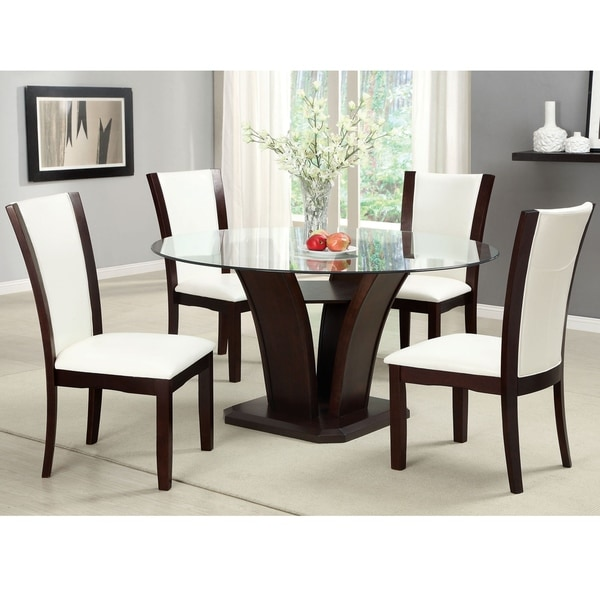 Furniture of America Gale Modern Cherry Solid Wood 5-piece Dining Set