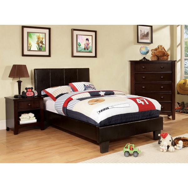 Furniture of America Kutty Modern Twin Upholstered Leatherette Platform Bed