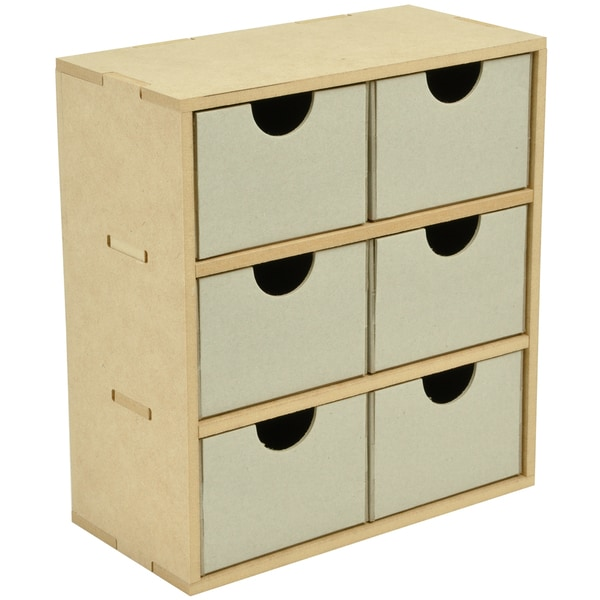 "Beyond The Page MDF 6-Drawer Tall Unit-8.5""X9.5""X4.25"" (215x240x110mm)"