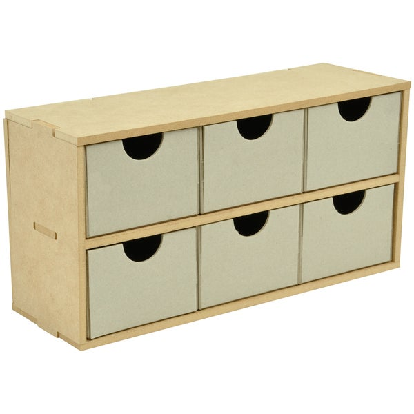 """Beyond The Page MDF 6-Drawer Wide Unit-12.5""""X6.25""""X4.25"""" (320x160x110mm)"""