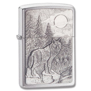 Zippo Brushed Chrome Timberwolf Emblem Lighter