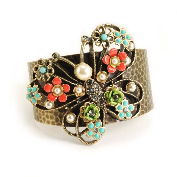 Sweet Romance Bronze Butterfly and Flowers Cuff Bracelet