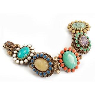 Sweet Romance Bronze Vintage Glass Link Bracelet