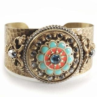 Sweet Romance Bronze Enamel and Glass Rosette Cuff Bracelet