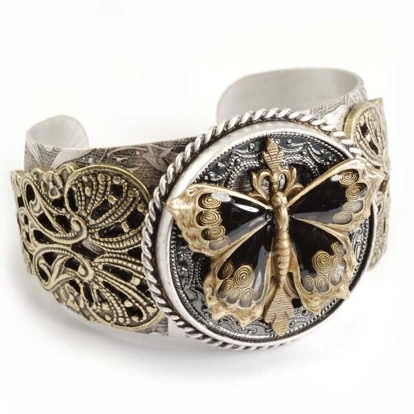 Sweet Romance Black Enamel Butterfly Cuff Bracelet