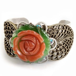 Sweet Romance Coral Glass Rose and Leaves Cuff Bracelet