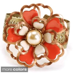 Sweet Romance Copper and Enamel Flower Cuff Bracelet