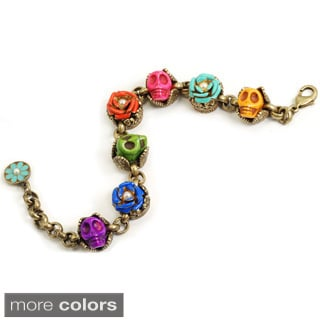 Sweet Romance Sugar Skulls and Flowers Day of the Dead Bracelet