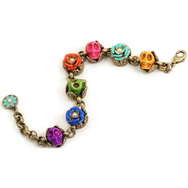 Sweet Romance Sugar Skulls and Flowers Day of the Dead Bracelet