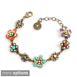 Sweet Romance Pewter Faux Pearl and Glass String of Flowers Bracelet