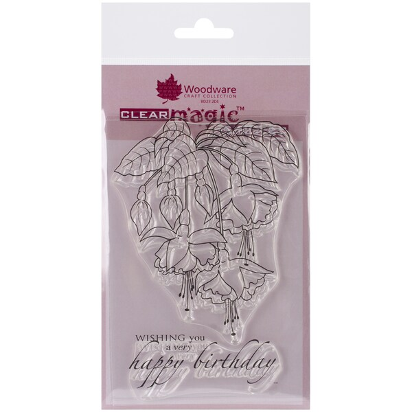 """Woodware Clear Stamps 3.5""""X5.5""""-Fuschia Spray"""