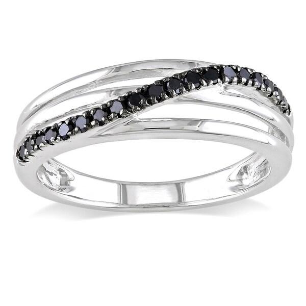 Miadora Sterling Silver 1/5ct TDW Round-cut Black Diamond Ring