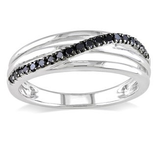 Miadora Sterling Silver 1/5ct TDW Round-cut Black Diamond Ring