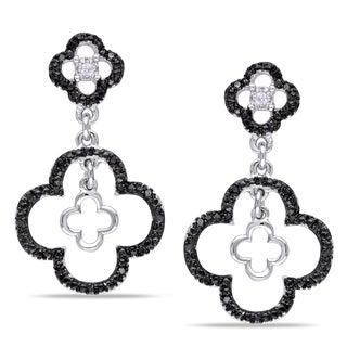 Miadora Silver 1/6ct TDW Black and White Diamond Earrings (H-I, I2-I3)