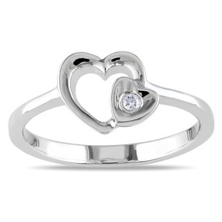 Miadora Sterling Silver Diamond Heart Ring