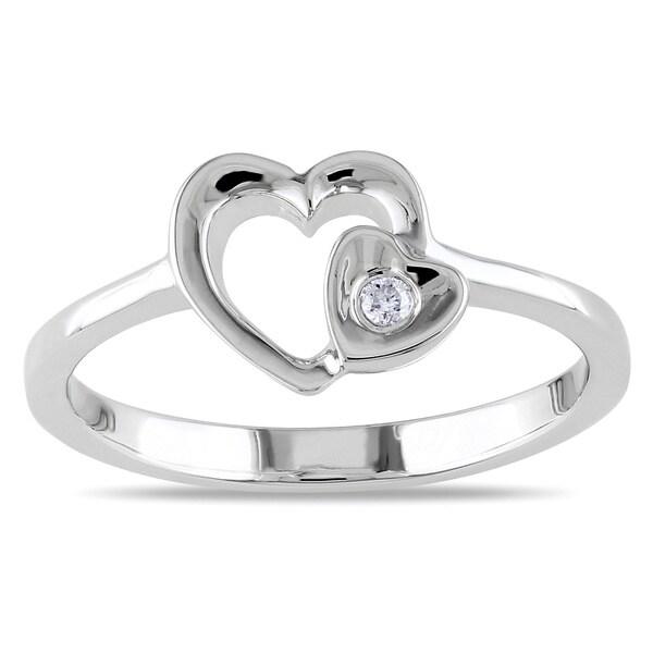Miadora Sterling Silver Diamond Heart Ring