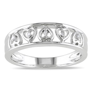 Miadora Sterling Silver Diamond Band
